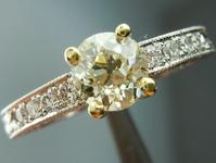Vintage Style Diamond Ring: .77ct M/VS1 Old European Cut GIA Platinum Engraved Ring R4480