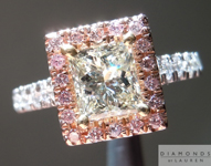 SOLD.... Princess Cut Diamond Ring: 1.00ct O-P VVS2 Princess Cut GIA Pink Diamond Halo R4481