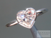 SOLD.....Heart Shape Diamond Ring: .83ct K/VS2 Heart Shape GIA Strong Blue Fluorescence Bezel Set RingR4493