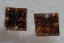 SOLD....Pair of Brown Diamonds: .51ctw Fancy Brown SI1 Princess Cut Diamonds R4504