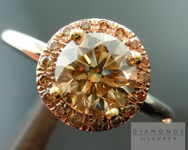 SOLD....Brown Diamond Ring: 1.15 Fancy Brown Rare VS Clarity Round Brilliant Brown Gold Halo R4500