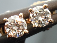 SOLD.....Diamond Earrings: .32ctw H-I/SI Round Brilliant Diamond Studs Rose Gold R2694
