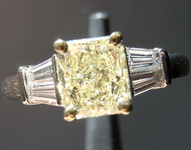 SOLD....Yellow Radiant Cut Diamond Ring: 1.01ct Fancy Light Yellow SI1 Radiant Cut Diamond GIA Great Sparkle R4520
