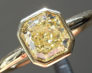 SOLD.....Yellow Diamond Ring: 1.01ct Fancy Light Yellow VVS2 Radiant Cut GIA Bezel Set R4524
