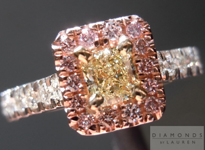 Yellow and Pink Diamond Ring: .33ct Fancy Light Yellow VS1 Radiant Cut with Fancy Pink Diamond Halo R4416