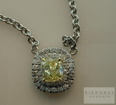 SOLD...Double halo Diamond Necklace: .83ct Fancy Light Yellow VS1 Cushion Diamond GIA in Platinum R4282