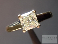 SOLD....Princess Cut Diamond Solitaire-.75ct M color diamond in Yellow Gold- Buttery! R1165