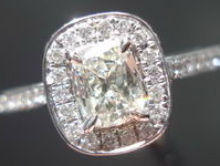 SOLD.....CLOSEOUT on DAUSSI Rings: .36ct. Cushion Diamond Ring R2913