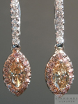 SOLD....Pink Diamond Halo Earrings: 1.02cts Fancy Yellowish Brown Marquise Diamond Studded Dangles R3929