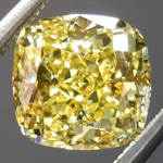 SOLD....Yellow Cushion Cut Diamond: 1.50ct Fancy Vivid Yellow VS1 Cushion Cut GIA Exceptional Stone R4606