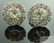 SOLD....Diamond Halo Earrings: 1.21cts O-P VS1 Round Brilliant Halo Earrings in 18K White Gold R4552