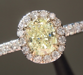 Yellow Diamond Ring: .59ct Fancy Yellow VS2 Cushion Modified Brilliant Diamond Halo Ring GIA R4612