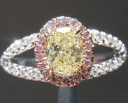 Yellow Diamond Ring: .63ct Fancy Yellow SI2 Oval Shape GIA PInk Diamond Halo R4613