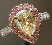 SOLD.... Yellow Diamond Ring: 1.00ct Fancy Light Yellow VS2 Pear Shape GIA Pink Diamond Halo R4627