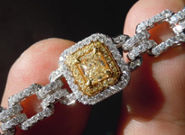 SOLD.........Yellow Diamond Bracelet: 9.84cts Yellow and White Diamond Bracelet 18K R4637