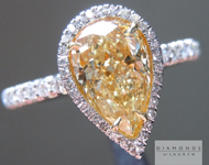 SOLD....Yellow Diamond Ring: 1.42ct Fancy Light Yellow VS2 Pear Shape GIA Single Cut Diamond Halo Ring R4605