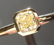 Yellow Diamond Ring: .50ct Fancy Light Yellow SI2 Cushion Cut GIA Bezel Set Ring R4645