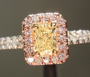 SOLD...Yellow Diamond Ring: .37ct Fancy Light Yellow SI2 Radiant Cut GIA Pink Lemonade Halo R4641