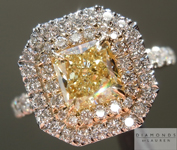 SOLD....Yellow Diamond Ring: 1.02ct Fancy Light Yellow Internally Flawless Radiant Cut GIA Double Halo R4602