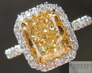 Yellow Diamond Ring: 1.80ct Fancy Light Yellow VS1 Radiant Cut GIA Uber Halo R4468
