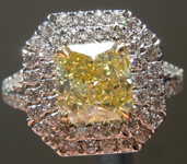 Yellow Diamond Ring: 1.22ct Fancy Intense Yellow VS2 Radiant Cut GIA Halo Ring R4569