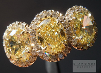 Yellow Diamond Ring: 2.12cts Fancy Yellow Oval Shape Three Stone Diamond Halo Ring R4509