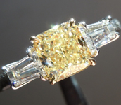 Yellow Diamond Ring: 1.26ct Fancy Light Yellow VS2 Radiant Cut GIA Three Stone Ring R4604