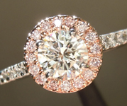 SOLD.....Colorless Diamond Ring: .52ct I/I1 Round Brilliant GIA Pink Diamond Halo R4661