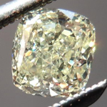 SOLD....Yellow Cushion Cut Diamond: .49ct Light Yellow VS1 Cushion Cut Beautiful Crushed Ice R4672