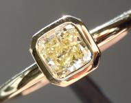 Yellow Diamond Ring: .40ct Fancy Light Yellow VS2 Cushion Cut Diamond Ring GIA R4675