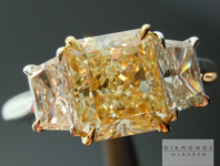 SOLD....Yellow Radiant Cut Diamond Ring: 2.03ct Y-Z, Natural Light Yellow VVS2 Radiant Cut GIA Three Stone Ring R4695