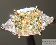 SOLD....Yellow Diamond Ring: 2.00ct Y-Z, Natural Light Yellow VS2 Cushion Cut GIA Three Stone Ring R4696