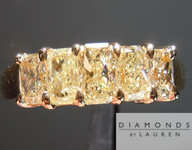 SOLD.....Yellow Diamond Ring: 1.33cts Fancy Light Yellow Radiant Cut Diamond Five Stone Band R4649
