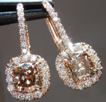 Orange Brown Diamond Earrings: Matching Orange Brown Cushion Cut with Assher Cut Diamond Dangle Earrings R4702