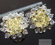 Yellow Diamond Earrings: 2.29cts Fancy Light Yellow VS1 Cushion Cut Halo Earrings R4601