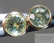 SOLD....Green Sapphire Earrings: 1.33cts Green Round Brilliant Sapphire Bezel Set Studs R4557