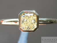 Yellow Diamond Ring: .26ct Fancy Light Yellow VS1 Radiant Cut Bezel Set Ring R4647