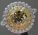 SOLD...Diamond Ring: .55ct Fancy Dark Brown-Greenish Yellow Round Brilliant GIA Double Halo R4639