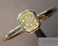 Yellow Diamond Ring: .39ct Fancy Light Yellow VS1 Radiant Cut Bezel Set Ring R4648