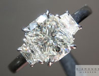 Three Stone Ring: 1.27ct J/VVS2 Radiant Cut GIA Trapezoid Side Stones R4709