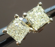 SOLD....Yellow Diamond Earrings: .84cts W-X SI1-2 Princess Cut Stud Earrings R4591