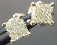 SOLD...Yellow Diamond Earrings: .64cts W-X VS2 Princess Cut Diamond Stud Earrings R4597