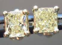 SOLD... Yellow Diamond Earrings: .58cts Y-Z SI2-I1 Radiant Cut Diamond Stud Earrings R4630