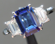 SOLD...Sapphire Ring: 1.45ct Ceylon Blue Emerald Cut Sapphire GIA Three Stone Ring R4775