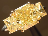 Yellow Diamond Ring: 2.34ct Fancy Intense Yellow SI1 Radiant Cut GIA Three Stone Ring R4759