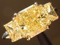 SOLD....Yellow Diamond Ring: 2.34ct Fancy Intense Yellow SI1 Radiant Cut GIA Three Stone Ring R4759