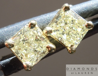 Yellow Diamond Earrings: .60cts Y-Z SI2-I1 Radiant Cut Diamond Stud Earrings R4633
