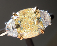 SOLD...Yellow Diamond Ring: 2.01ct W-X VS1 Cushion Cut GIA Three Stone Ring R4764