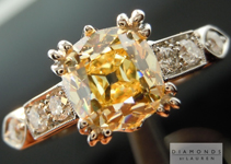 Yellow Diamond Ring: 1.50ct Fancy Yellow Branded DBL Modern Antique Diamond GIA R4771