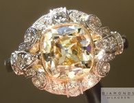 Yellow Diamond Ring: 1.78ct W-X/VS1 Branded DBL Modern Antique Diamond GIA Antique Style Filigree Ring R4770